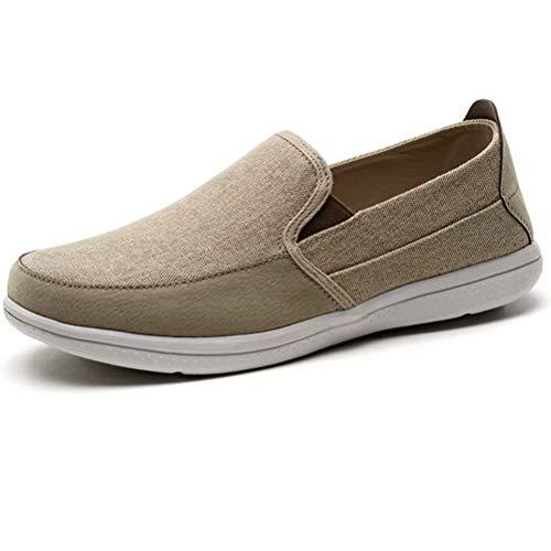 (LANCROP Men's Slip On Shoes - Casual Lightweight Canvas Deck Boat Loafers Flat 9.5 M US Khaki)