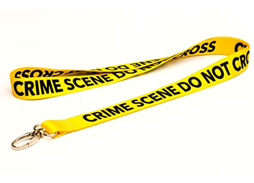 Crime Scene Do Not Cross Lanyard with Clip for Keys or id Badges. Great for Work id Badge, School id Badge, car Keys, House Keys. Perfect for CSI Fans, Forensic Students. (1) (Cross Lanyard)