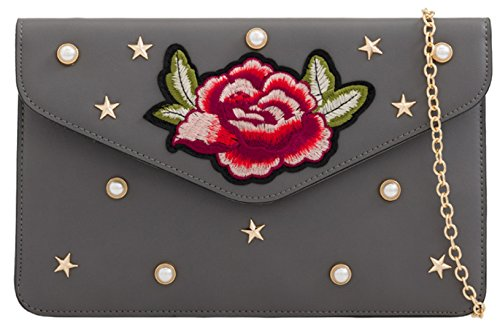 Clutch Girly Rose Girly HandBags Stars Bag Grey HandBags wqvWPxRaXW