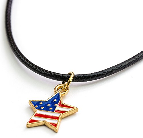Usa Flag Pendant Charm (Soul Statement 4th of July Accessories Heart Charm USA Flag Pendant Necklace Choker Party Jewelry (USA Flag Star))
