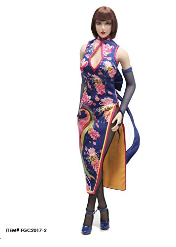 Tekken Female Characters Costumes (OBEST 1/6 Scale Tekken Cheongsam Male Costume Fcmaic Character Set(Blue Version))