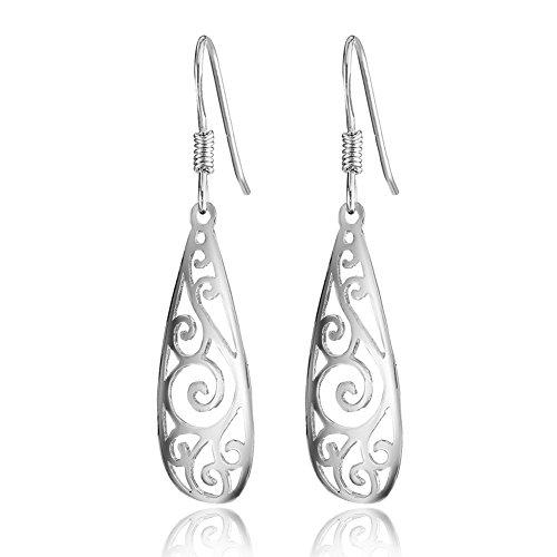 lver Filigree TearDrop Earrings Polished Drop Earrings for Women ()