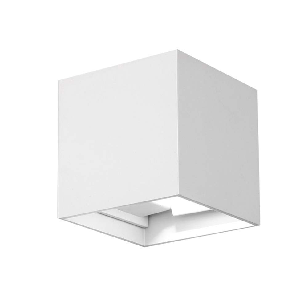 Lysed LED Aluminum Waterproof Wall Lamp,12W 85-225V 3200K Adjustable Wall Light Warm Lights for Bedroom, Living Room, Stairs, Corridor, Cafe, No Plug (White)