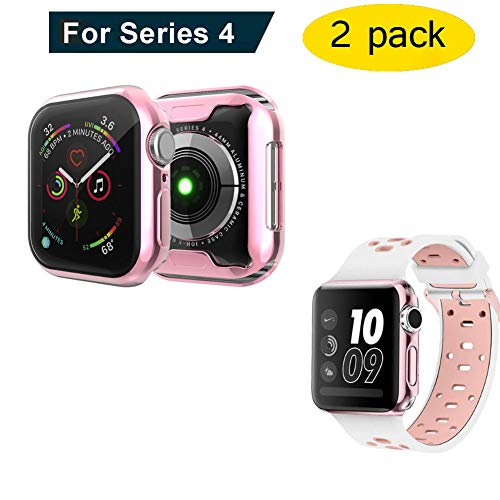 Wecin Apple Watch Case Electroplate 0.3 mm TPU Ultra-Thin Soft Full Cover Screen Protector for iWatch Series 4 44 mm 2 Pack (Rose Gold).