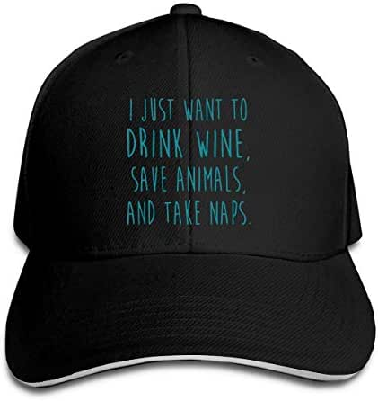 Men & Women's I Just Want to Drink Wine, Save Animals, Take Naps Cotton Baseball Cap Vintage Trucker Hat for Mens Womens