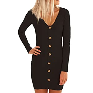ZILIN Women's Ribbed Knit Button Down Tight Sweater Dress U-Neck Bodycon Pencil Dress