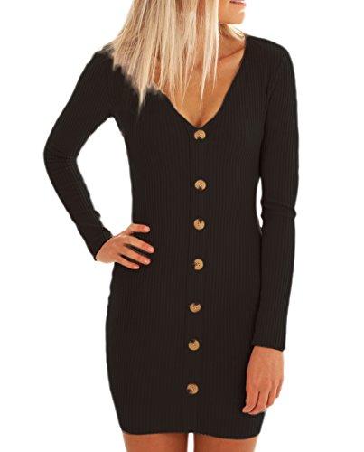 ZILIN Women's Ribbed Knit Button Down Tight Sweater Dress V-Neck Bodycon Pencil Dress Black