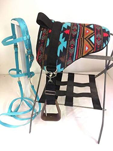 Party Ponies Miniature Horse/SM Pony Bareback Saddle PAD Set with BITLESS Bridle - Turquoise Indian Native Set