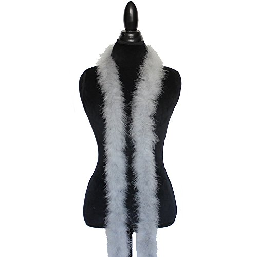 Cynthia's Feathers Marabou Feather Boa 6 Feet Long 22 Grams Crafting Sewing Trim Hair Bows Wedding Halloween Costume (Silver Grey)