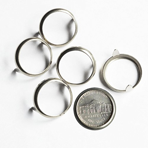 (Nickel 5 cent USA Coin Holder Rim Setting Bezel Nailhead with Prongs Plated Brass Pack/10)