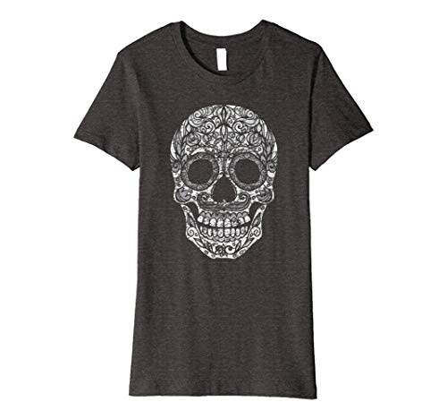 Womens Day Of The Dead Calavera Sugar Skull Halloween Costume Shirt 2XL Dark -