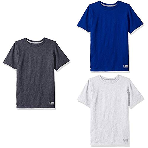 (Russell Athletic Big Boys' Essential Short Sleeve Tee, Black Heather/Royal/Ash , S)