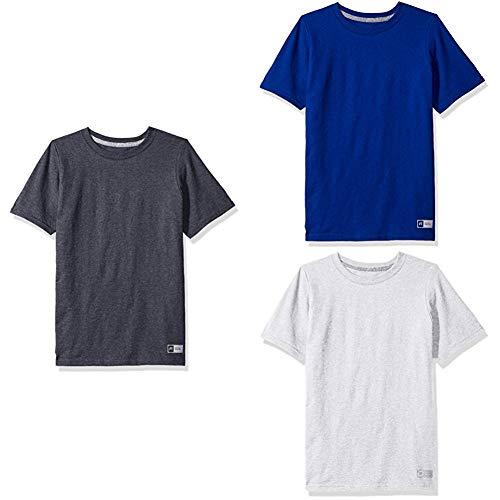Russell Athletic Big Boys' Essential Short Sleeve Tee, Black Heather/Royal/Ash , S