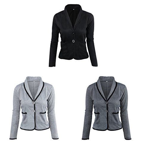 nbsp;Two Coat Blazer Cardigan Sleeve Long Light Women Office Short Lapel Suits Suits Masterein Gray Button Slim Small 6fUYwq6WX