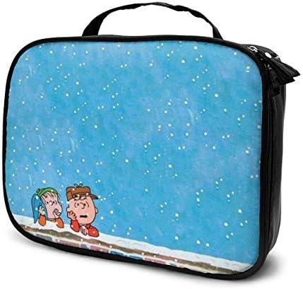 壁紙チャーリーブラウン雪を見ています 化粧ポーチ 多機能 大容量 コンパクト収納 旅行で持ち運びが簡単 人気 おしゃれ メイクポーチ
