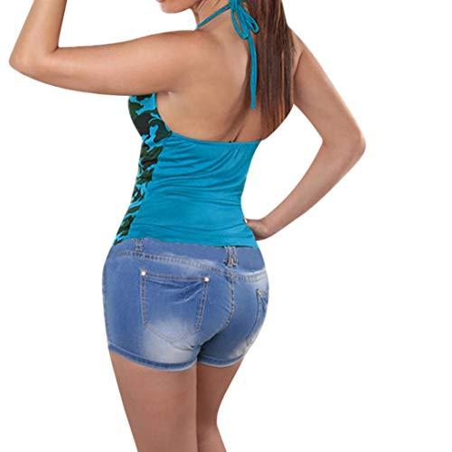 4 Chemisier Manches 3 Kanpola Bleu Women Femme Carreaux boutonn Col Bustier 1WA6Wc