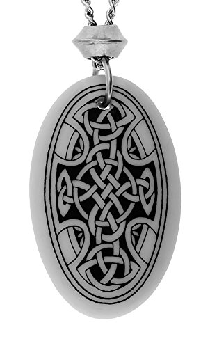 UNYKTOUCH Handmade Celtic Nevern Cross Oval Shaped Porcelain Pendant (with 18+4 inch Extender Chain)