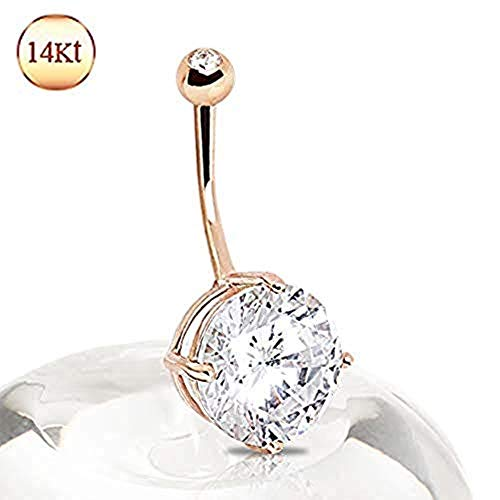Covet Jewelry 14Kt Rose Gold Navel Ring with Large Clear Round Prong Set CZ ()