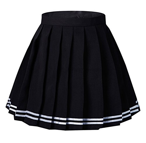 Women's Japan High Waisted Pleated Cosplay Costumes Skirts Black Stripe Mini Skirt(XL,Balck) Pleated Skirt