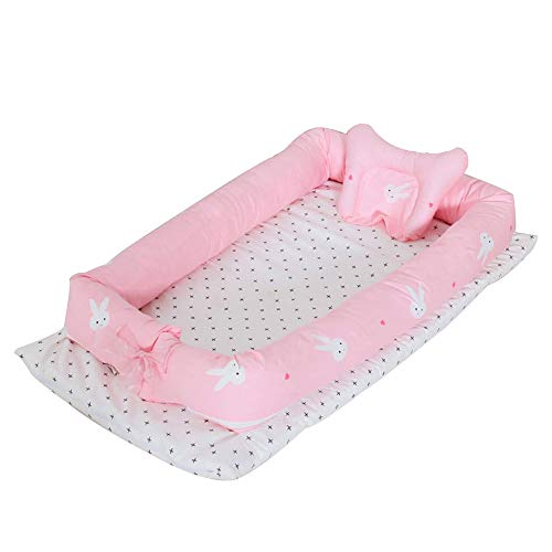 Abreeze Baby Bassinet for Bed - Rabbit Baby Lounger - Breathable & Hypoallergenic Co-Sleeping Baby Bed - 100% Cotton Portable Crib for Bedroom/Travel