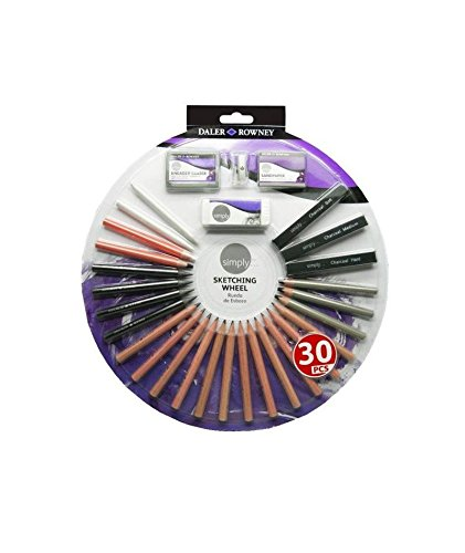 - Daler-Rowney Sketching Wheel Set of 30 Drawing Tools in Round Case (644200030)