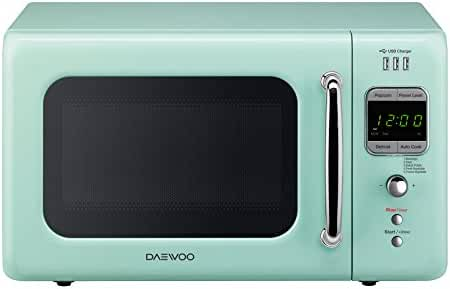 Daewoo Retro Microwave Oven 0.7 Cu Ft USB Port & ECO Plug, 700w (Mint Green) (Green)