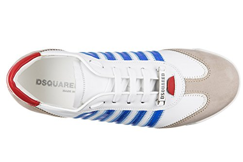 Dsquared2 chaussures baskets sneakers homme en cuir new runner blanc