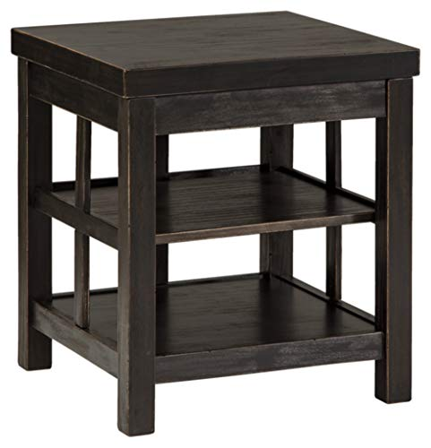 Black Gavelston Square End Table Rubbed Signature Design by Ashley