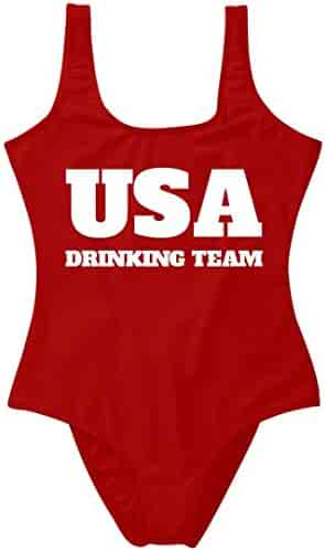 de6002f314 Customized Girl 4th July USA Drinking Team  Leonetti Swimwear One Piece  Swimsuit