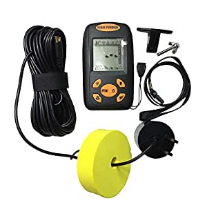 Portable Fish Finder Water Depth & Temperature with Wired Sonar Sensor Transducer and LCD Display