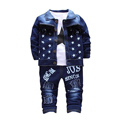 Moonker Fashion Infant Baby Kids Girls Boys Letter Demin Coat Tops Pants 3Pcs Set Outfit Clothes Stars Fringed Cowboy Jacket Shirt Tassel Trousers Three-Piece Suit (Blue, 6-12months) (Pants Top Coat)