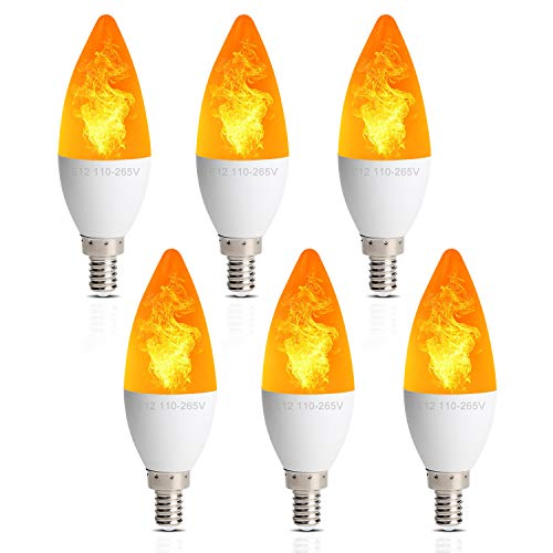 OMAYKEY Simulated Flickering Effect LED Candelabra Bulbs, E12 2W 1800K Warm Color, Fire Flicker Flame Chandelier Bulb, 3 Modes Emulation, Constant Light, Breathing, for Home Party Decoration, 6 Pack