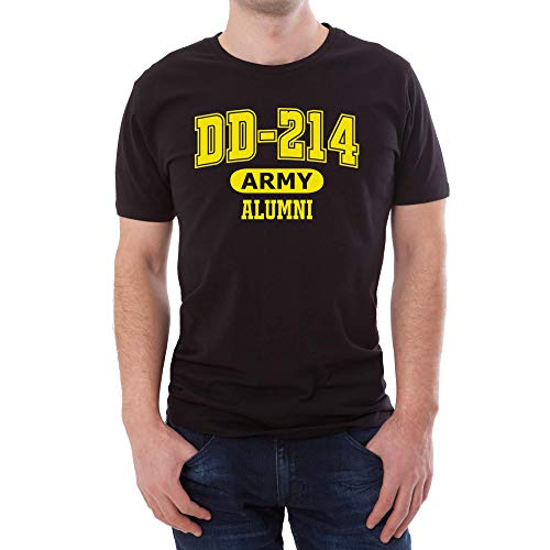 OP Quality TShirts DD-214 Alumni Black and Gold T Shirt for Proud, Brave Army Veterans (Large) (Alumni Tee)