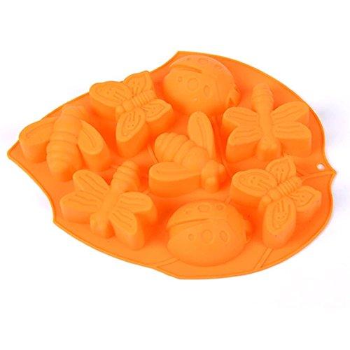 Insekt Muffinform Muffin Form Silikon Kuchenform Große Blätter Backform DIY Werkzeuge Silikonform Muffinförmchen für Kuchen-Fondant Dekorieren Orange