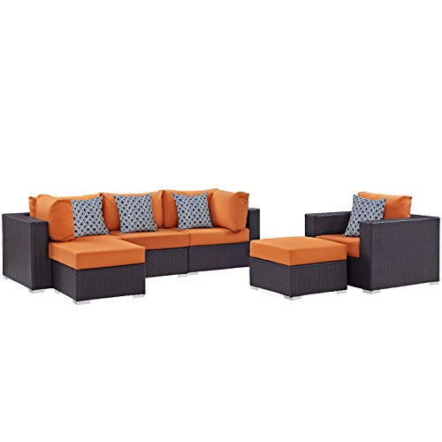 Modway Convene Wicker Rattan 6-Piece Outdoor Patio Sectional Sofa Furniture Set in Espresso Orange
