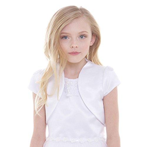 - Petite Adele Big Girls White Satin High Collar Elegant Classic Bolero 17-18