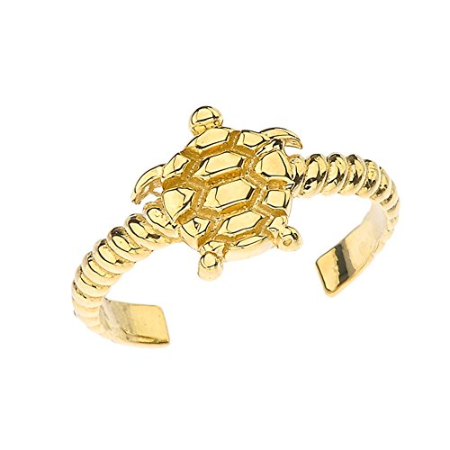 (Fine Sea Turtle Rope Toe Ring in Solid 10k Yellow Gold)