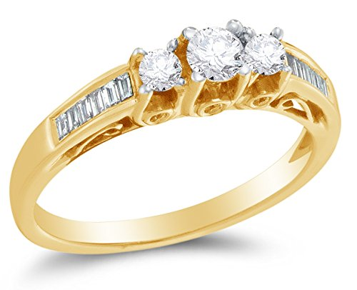 Size 5.5 - 14K Yellow Gold Round & Baguette Diamond Engagement Ring - Prong Set Three Stone Center Setting Shape with Channel Set Side Stones (1/2 cttw.)