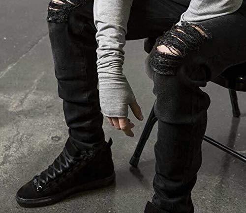Slim Jeans Strappati Skinny Tasche Da Con Nero Fit Denim Pantaloni Uomo wXHqRaXO