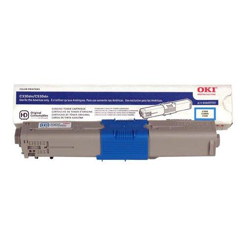 Genuine OEM Cyan Toner Cartridge Oki C330dn C530dn C531dn MC361 MFP MC362w MFP MC561 MFP MC562w MFP - 44469703 - Yield 3,000