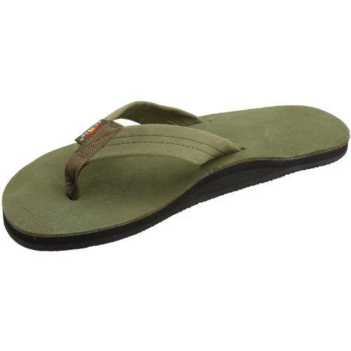 Sandales Arc-en-ciel Sandales En Cuir Premium Pour Hommes - Vert Forêt Xxxl