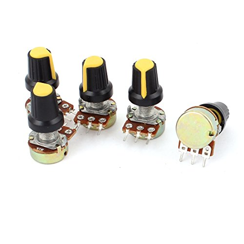 Uxcell a15040700ux0379 5 Piece 1K Ohm 3 Terminals Linear Taper Rotary Audio B Type Potentiometer Pot B1K