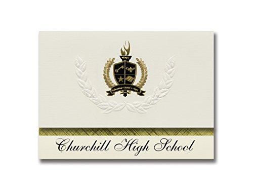 Signature Announcements Churchill High School (San Antonio, TX) Graduation Announcements, Presidential style, Elite package of 25 with Gold & Black Metallic Foil ()