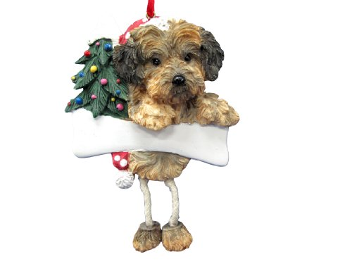 Yorkipoo Dog Dangling/Wobbly Leg Christmas Ornament