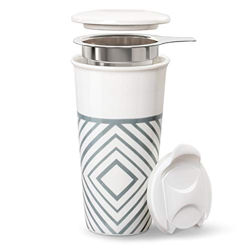 Lifver Ceramic Travel Mug/Cup for Coffee&Tea with Micro Mesh Filter and 2 Lid, 18 fl.oz, grey