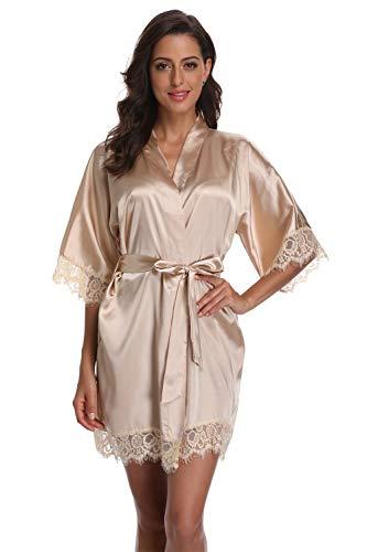 Original Kimono Women's Lace-Trimmed Satin Short Kimono Robe Bathrobe Loungewear Champagne L ()