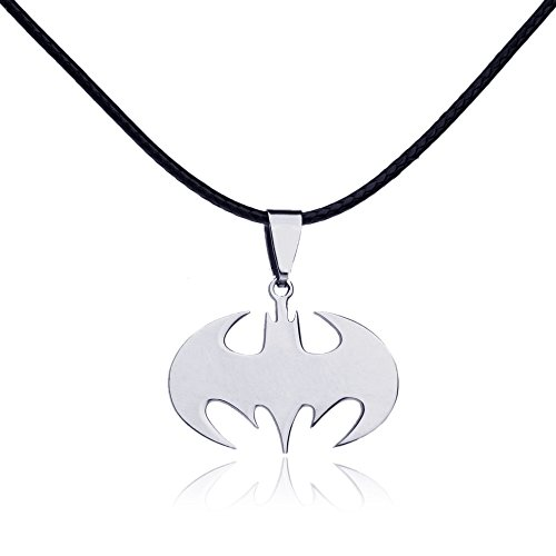 Unique Female Superhero Costume Ideas (Dastan Necklace Stainless Steel Batman Pendant on Leather Cord)