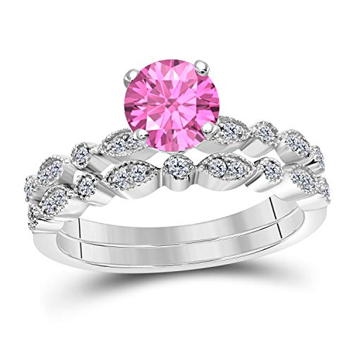 (Art Deco Style 1.00 Ct Lab Created Pink Sapphire Round Shape Engagement Ring Set 14K White Gold Over Sterling Silver Bridal Ring Set for Women's Jewelry)
