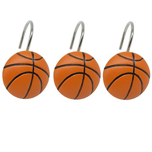 Doupoo Home Decorative Basketball Shower Curtain Hooks Set of 12 (Baskerball)