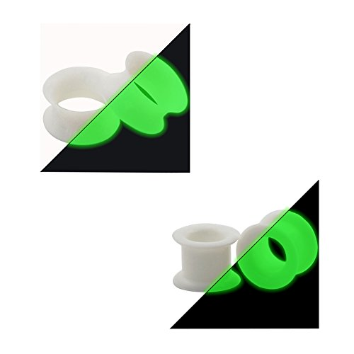 IU Mode 4pcs Soft Silicone Glow in the Dark Flexible Ear Skin Tunnels Plugs Expanders Gauges Hollow Body Piercing 2g(6mm)